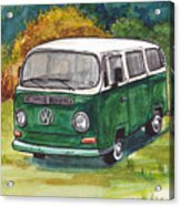 Green Vw Bus Acrylic Print