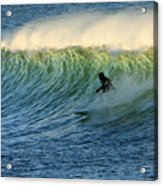 Green Wall Surfer Acrylic Print by Mike Coverdale