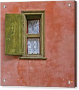 Green Window On A Red Wall Acrylic Print