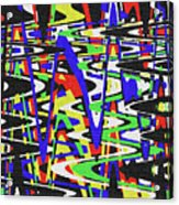Green Yellow Blue Red Black And White Abstract Acrylic Print
