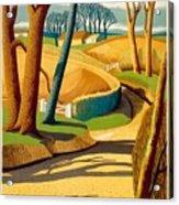 Greet The Sun By London Underground - Metro, Suburban - Retro Travel Poster - Vintage Poster Acrylic Print