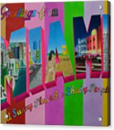 Greetings From Miami Acrylic Print
