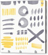 Grey And Yellow Shapes- Abstract Painting Acrylic Print by Linda Woods
