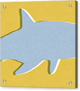 Grey And Yellow Shark Acrylic Print
