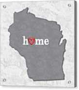 State Map Outline Wisconsin With Heart In Home Acrylic Print