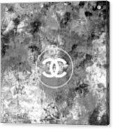 Grey White Black Chanel Logo Print Acrylic Print