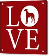 Greyhound Love Red Acrylic Print