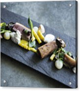 Grilled Pork Sour Cream And Vegetables On Modern Grey Slate Acrylic Print