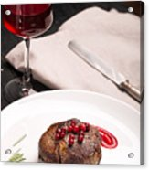 Grilled Steak Meat On The White Plate Acrylic Print