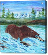 Grizzley Catching Fish In Stream Acrylic Print