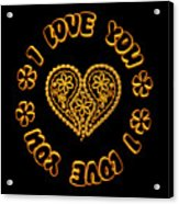 Groovy Golden Heart And I Love You Acrylic Print
