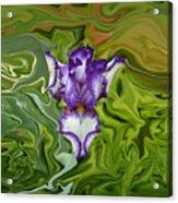 Groovy Purple Iris Acrylic Print by Rebecca Margraf