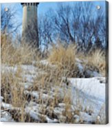 Grosse Point Lighthouse Winter Dunes Acrylic Print