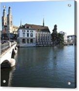 Grossmunster, Wasserkirche And Munsterbrucke - Zurich Acrylic Print