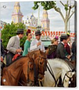 Group Of Couples On Horseback Drinking And Partying At The Sevil Acrylic Print