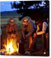 Group Of Cowboys Around A Campfire Acrylic Print