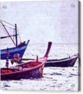 Group Of Fishing Boats Acrylic Print