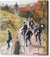 Group Riding Penny Farthing Bicycles Acrylic Print