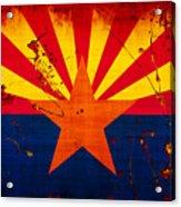 Grunge And Splatter Arizona Flag Acrylic Print
