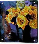 Grunge Friendship Rose Bouquet With Candle By Lisa Kaiser Acrylic Print