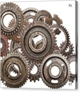 Grunge Gear Cog Wheels Mechanism Isolated On White Acrylic Print