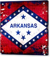 Grunge Style Arkansas Flag Acrylic Print