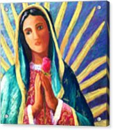 Guadalupe With Rose Acrylic Print