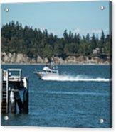 Guemes Island And Fishing Boat Acrylic Print