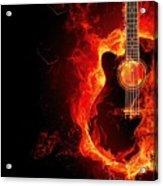 Guitar On Fire Acrylic Print
