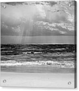 Gulf Of Mexico In Black And White Acrylic Print