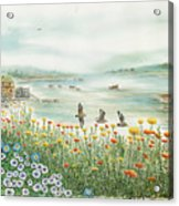 Gulls Over Flowers At The Bay Acrylic Print