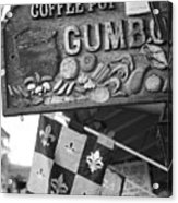 Gumbo Sign - Black And White Acrylic Print