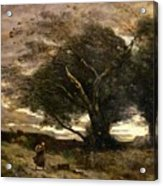 Gust Of Wind Acrylic Print by Jean Baptiste Camille Corot