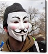 Guy Fawkes Mask At Political Demonstration Acrylic Print