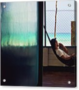 Guy With The Hat Lying In A Hammock On The Porch Of The Old House And Relaxing By The Caribbean Sea Acrylic Print