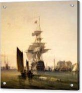 H M S Britannia Entering Portsmouth Acrylic Print