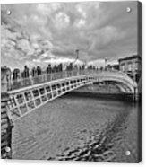 Ha' Penny Bridge In Black And White Acrylic Print
