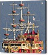 Hakone Sightseeing Cruise Ship Sailing On Lake Ashi Hakone Japan Acrylic Print by Andy Smy