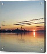Half A Sunrise - Toronto Skyline From Across Silky Calm Lake Ontario Acrylic Print