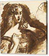 Half-length Sketch Of A Young Woman Acrylic Print