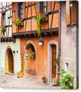 Half-timbered House Of Eguisheim, Alsace, France.  Acrylic Print