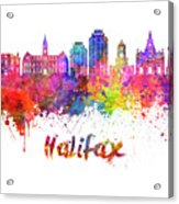 Halifax V2 Skyline In Watercolor Splatters With Clipping Path Acrylic Print