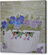 Hall China Crocus Bowl With Violets Acrylic Print