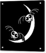 Halloween Bats And Crescent Moon Acrylic Print