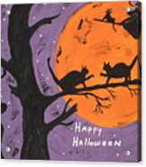 Halloween Cat Fight Acrylic Print