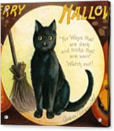 Halloween Greetings With Black Cat And Carved Pumpkins Acrylic Print