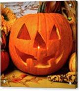 Halloween Pumpkin Smiling Acrylic Print