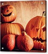 Halloween Pumpkins, Carved Jack-o-lantern. Acrylic Print