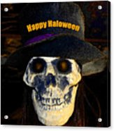Halloween Skull With Hat Acrylic Print