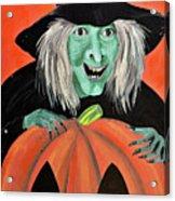 Halloween Witch And Pumpkin Art Acrylic Print